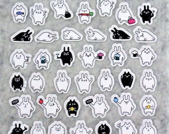 Mixed Sweet Puffy Cute Happy Black White Bunny Stickers