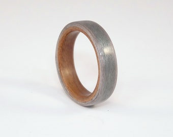 Grey Maple and Rosewood Bent Wood Ring Hand Made To Order In Any UK or US Size for Men and Women