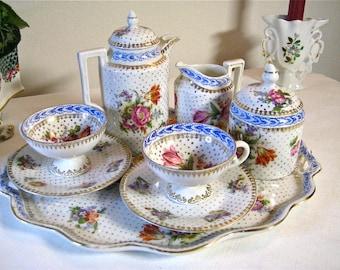 "Saxe porcelain moka set ""Cabaret"""