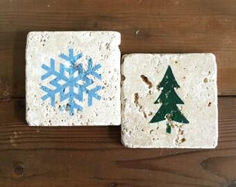 Winter/Holiday Holiday Tumbled Stone Coasters (set of 2)
