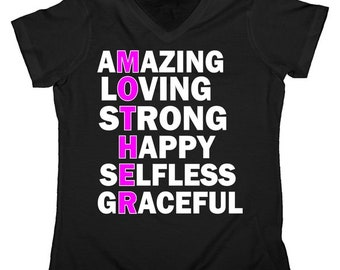 Mother's Day Quote Amazing Loving Strong Happy - Mothers Day Women's V-Neck Shirt