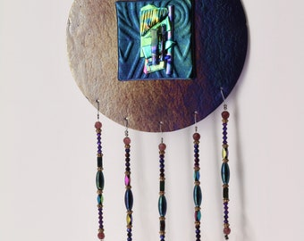 Iridescent purple glass Wind Chime - Gift for mom - Free Shipping