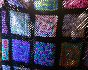 Granny Square Bedspread, afghan, blanket, retro, hippie, boho, bohemian, bedroom decor, throwback, one-of-a-kind, scrapbasket 92 X 106
