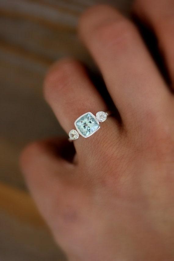 Aquamarine Anniversary Ring Aquamarine and White Sapphire