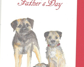 Border Terrier father's day card. card for fathers day. funny fathers day card. dog fathers day card. fathers day card with a border terrier