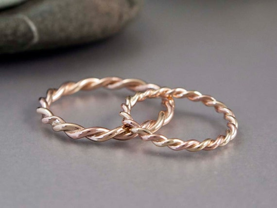 14k Gold Rope Twist Wedding Ring Set 2mm and 25mm Wide Two