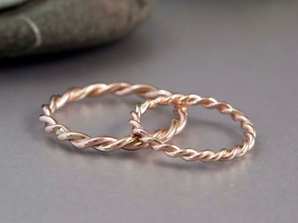 14k Gold Rope Twist Wedding Ring Set 2mm and 2 5mm Wide Two