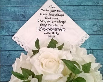 Wedding Handkerchief; wedding hankerchief; mother of the bride gift; personalised handkerchief; wedding handkerchief embroidered; hanky;