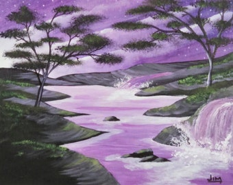 Purple Sunrise stream waterfall landscape
