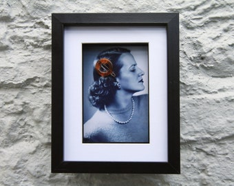 Collage of photo of woman with vintage hair slide