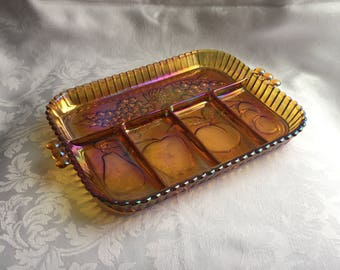 Vintage Carnival glass divided fruit tray