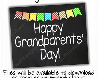 Happy Grandparents' Day Sign - Instant Download Printable File - Digital Chalkboard - Grandparents Day Gift - Grandma and Grandpa Gift