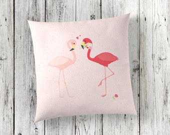 Flamingos Pillow - Pink Throw Pillow - Modern Home Decor - Wedding Gift