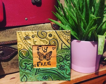 Fly free framed original art, bohemian picture