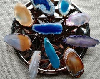 Agate Slice Magnets- fridge magnets, kitchen decor, stone, neodymium, natural, Brazil, mystical, gift,  FREE SHIPPING