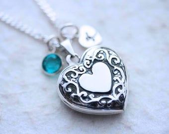 Sterling Silver Fancy design Locket Necklace, Heart Locket Pendant, Choose charms & sterling chain, Celtic Heart locket Jewelry. R-75