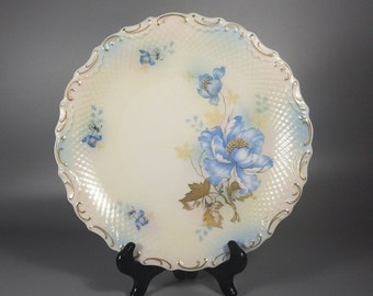 1940s Vintage Decorative Plate with Blue Wild Roses Gilt Trim - Made in Germany