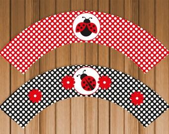 Ladybug Printable Cupcake Wrappers - Digital File, Printable, DIY