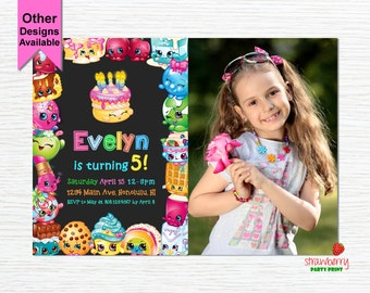 Shopkins Invitation with photo, Shopkins Birthday Invitation, Shopkins Invitation Digital, Shopkins Invitation Printable, Digital File