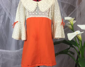 Bell sleeved 1960's lace mini-dress