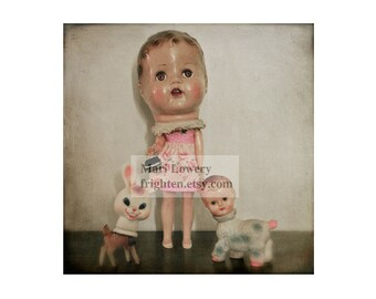 Creepy Cute Vintage Doll 5x5 inch Small Wall Art Photography Print, Weird Art Doll Collection