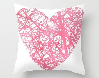 Heart Pillow Cover - Pink Heart Pillow Cover - Valenitnes Day Decorative Pillow Cover - Home Decor - includes insert