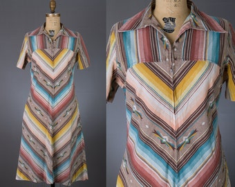 vintage 1970s southwest striped dress