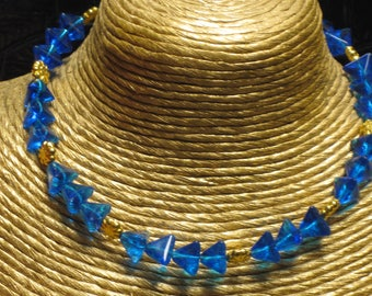 "16-7/8"" Blue Glass Pyramid Beads, Blue Pearls, and Gold Glass Stars Snowflakes Necklace, Holiday Necklace, Party Necklace"