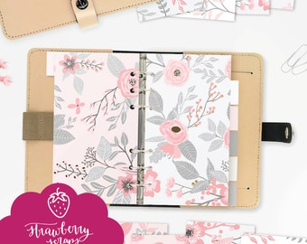 """Gray planner dividers """"PINK & GRAY FLOWERS"""" Personal size, Fits KikkiK and Personal size Filofax, Pink planner printable, Floral planner"""