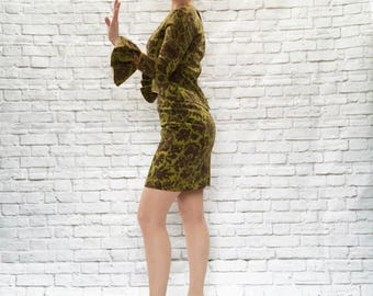 Vintage 60s Young Edwardian Flounce Lace Trumpet Sleeve Cuffs Tapestry Mod Mini Skirt Top Dress Set S