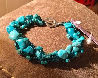Hand Stitched Genuine Turquoise Beaded Bracelet