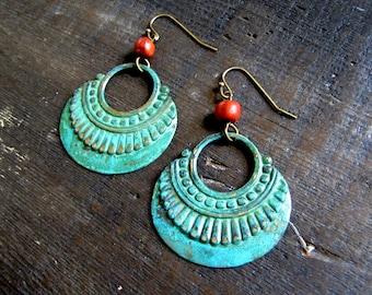 Gypsy Earrings Boho Earrings Patina Hoop Earrings Festival Jewelry Verdigris Earrings Tribal Earrings Southwest Jewelry Beach Jewelry