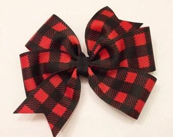 Buffalo Plaid Bow - Buffalo Plaid Pinwheel - Plaid Hairbow - Plaid Headband - 4 Inch Bow - Christmas Bow - Winter Bow - Christmas Plaid