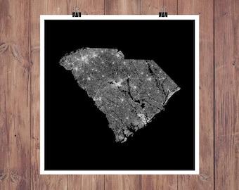South Carolina Map / Map of South Carolina / South Carolina Print / South Carolina Art / South Carolina Wall Art / South Carolina Roads