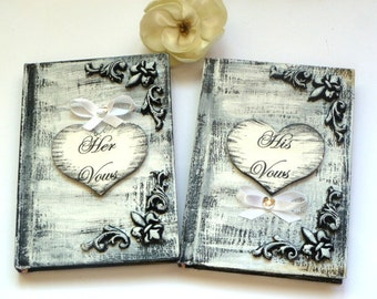 Wedding Vow Books, Black and White Wedding, His and Hers Vow books, Vow Booklets, Vow Notebooks