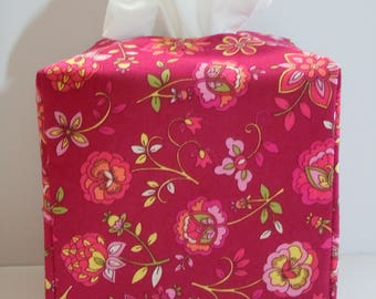 Ready To Ship -   Flower Print  -  Fabric Tissue Box Cover