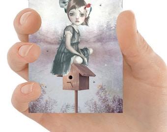 Lowbrow ACEO print   Girl & woodpecker   Bird card   Tiny surreal art print   Artist trading card   ATC card