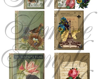 TiffanyJane Instant Download Altered Books Collage Sheet Collage Sheet--For Art--Embellishment--Paper Tags--Scrapbooking-Altered Art-