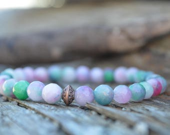 Rainbow agate gemstone bracelet, yoga jewellery, yoga bracelet stretch bracelet, friendship bracelet, yogi jewellery, best friend gift