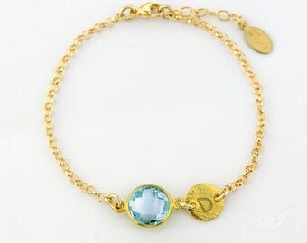 December Birthstone Bracelet, Personalized Blue Topaz bracelet, initial bracelet, adjustable bracelet, new mom bracelet, mothers bracelet