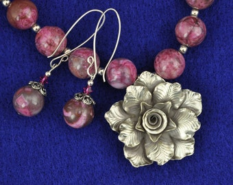 Pink Crazy Lace Agate .999 Silver Rose Necklace and Earring Set