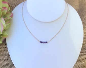 Delicate Gold Filled Necklace with a Touch of Purple