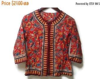 SALE Ethnic Batik Blouse red print xs s