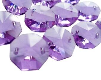 50 Lilac Octagon Chandelier Crystal Beads Lavender Purple Prisms 14mm