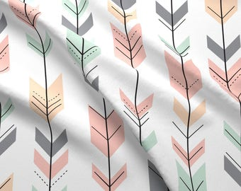 Fletching Arrows Fabric - Arrows / Pink,Grey,Mint,Peach Custom Fabric By Little Arrow Design - Cotton Fabric By The Yard with Spoonflower