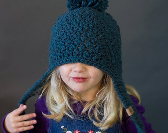 CROCHET PATTERN - Cumberland Ski Hat - Crochet Hat Pattern - Crochet Winter Hat Pattern - (Baby to Adult Sizes)  - Instant PDF Download