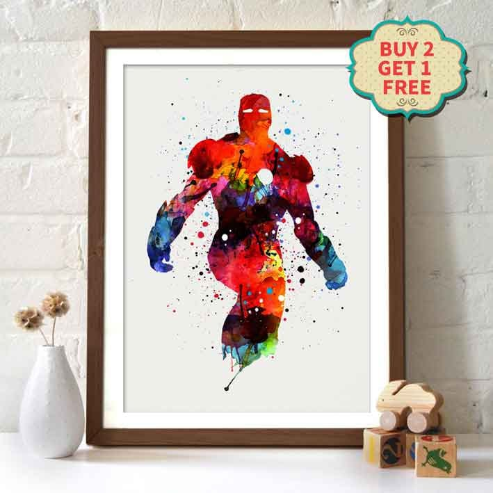 Avengers Watercolor: Marvel Movie Poster Avengers Iron Man _ Watercolor