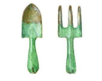 Watercolor Garden Tools, Garden Tools Print, Retro Garden Tools Print