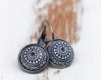 Earrings Morocco - with black relief