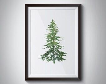 watercolor green christmas tree print, holiday decor, home decor, christmas decor, christmas print